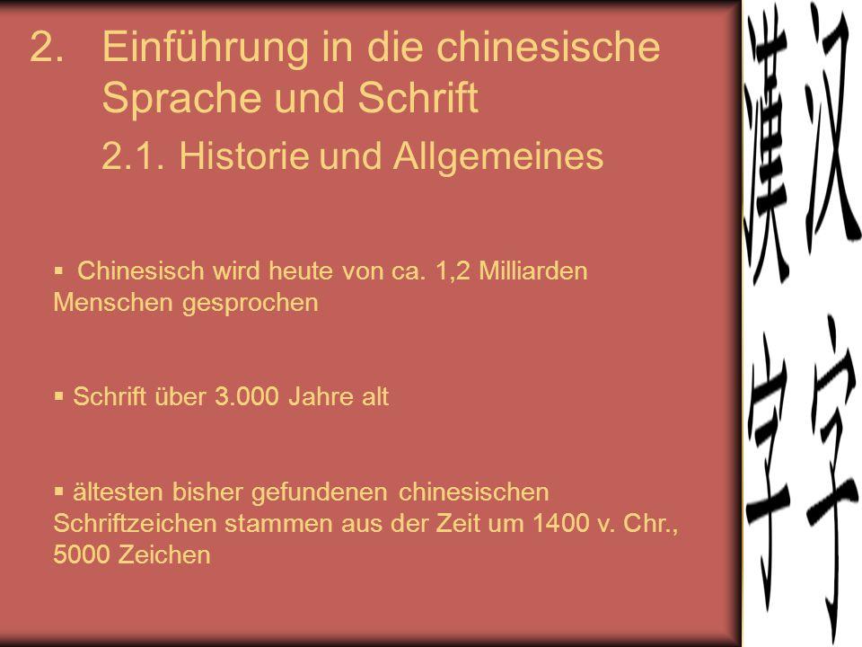 2.Einführung in die chinesische Sprache und Schrift 2.1. Historie und Allgemeines  Chinesisch wird heute von ca. 1,2 Milliarden Menschen gesprochen 
