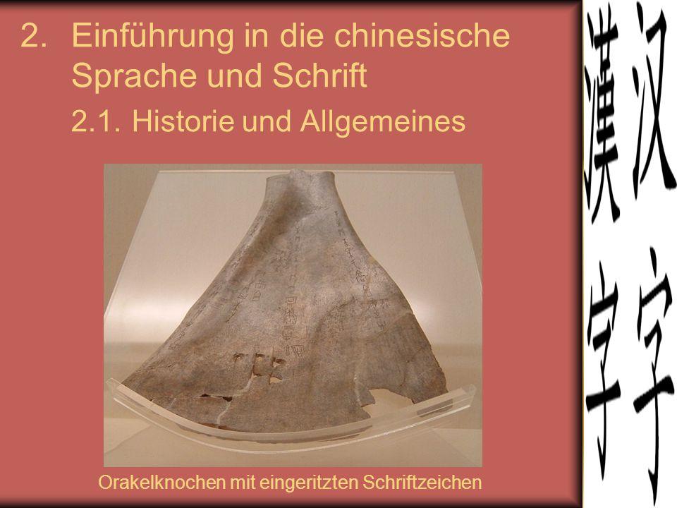 2.Einführung in die chinesische Sprache und Schrift 2.1. Historie und Allgemeines Orakelknochen mit eingeritzten Schriftzeichen