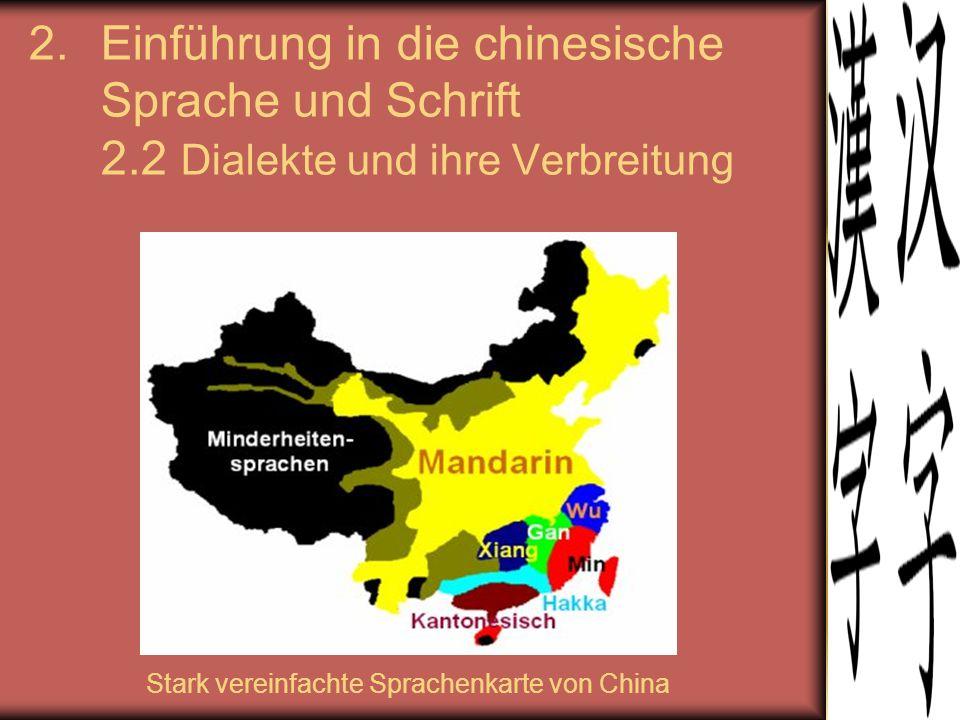 2.Einführung in die chinesische Sprache und Schrift 2.2 Dialekte und ihre Verbreitung Stark vereinfachte Sprachenkarte von China