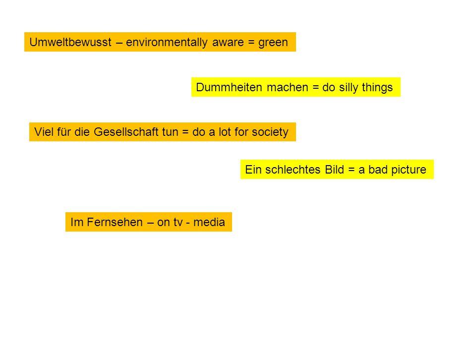 Umweltbewusst – environmentally aware = green Dummheiten machen = do silly things Viel für die Gesellschaft tun = do a lot for society Ein schlechtes