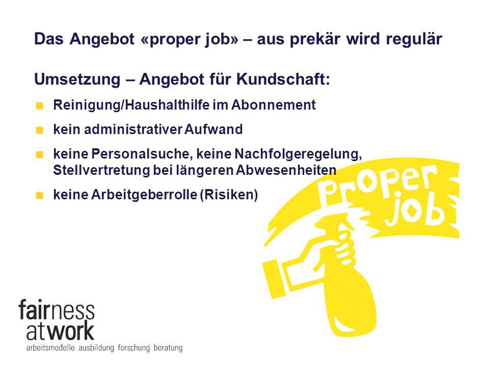 Das Angebot «proper job» – aus prekär wird regulär Umsetzung – Angebot für Mitarbeitende: ein normales Arbeitsverhältnis Arbeitsbewilligung und Integration im 1.