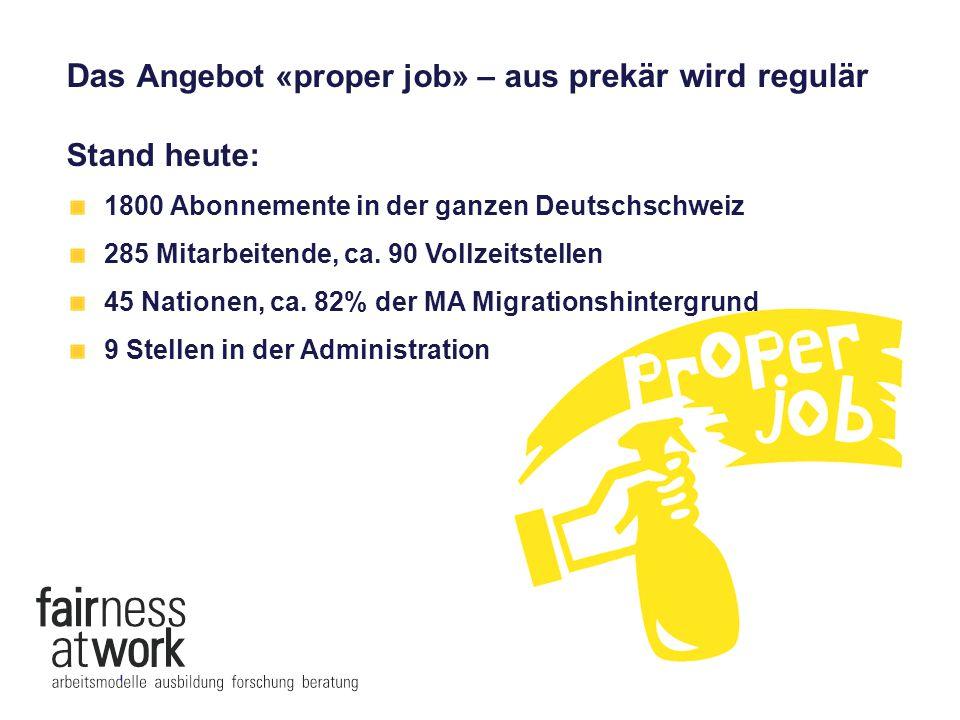 Das Angebot «proper job» – aus prekär wird regulär Stand heute: 1800 Abonnemente in der ganzen Deutschschweiz 285 Mitarbeitende, ca. 90 Vollzeitstelle
