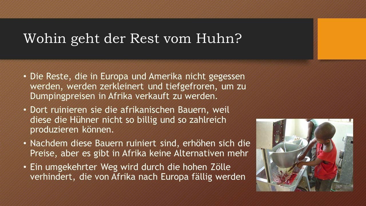 Fakten Alleine in Deutschland werden jährlich rund 400 Millionen (!) Hühner geschlachtet Auf der ganzen Welt sind es ungefähr 21 Milliarden Hühner (!) Die Menschen in Afrika, die das Geld durch den Verkauf lebender Hühner verdienen, gehen pleite weil aus dem Ausland der Müll (Organe, Innereien, Gehirne) importiert wird  dortige Industrie wird zerstört Im Jahr 2012 wurden insgesamt 1,3 Millionen Tonnen Hühnchenfleisch nach Afrika exportiert, am meisten nach Angola In Deutschland wurden 2012 11,3kg pro Kopf gegessen.
