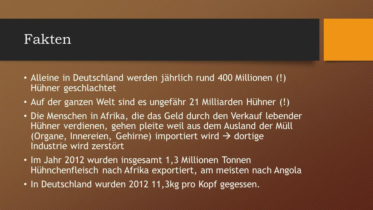 Fakten Alleine in Deutschland werden jährlich rund 400 Millionen (!) Hühner geschlachtet Auf der ganzen Welt sind es ungefähr 21 Milliarden Hühner (!)