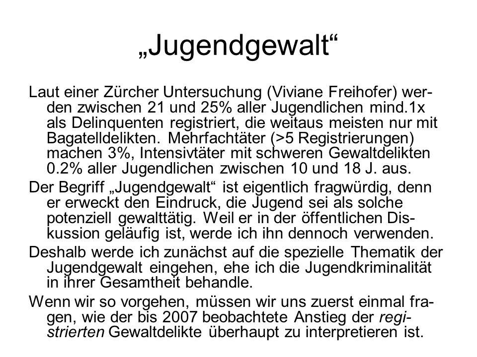 """""""Jugendgewalt"""" Laut einer Zürcher Untersuchung (Viviane Freihofer) wer- den zwischen 21 und 25% aller Jugendlichen mind.1x als Delinquenten registrier"""