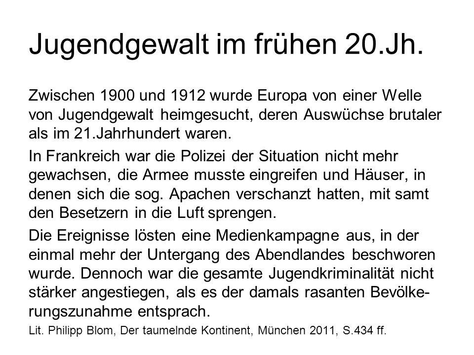 Jugendgewalt im frühen 20.Jh. Zwischen 1900 und 1912 wurde Europa von einer Welle von Jugendgewalt heimgesucht, deren Auswüchse brutaler als im 21.Jah