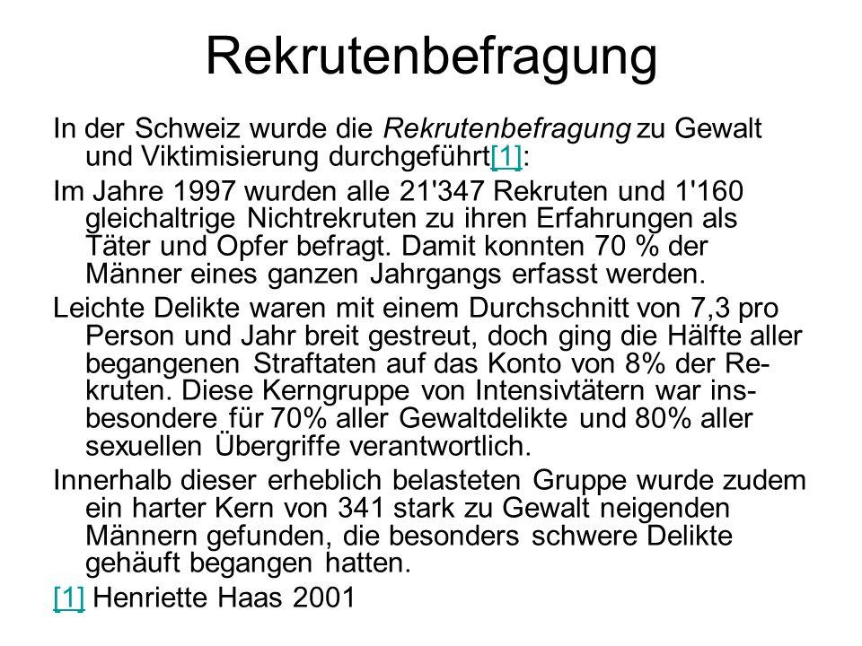 Rekrutenbefragung In der Schweiz wurde die Rekrutenbefragung zu Gewalt und Viktimisierung durchgeführt[1]:[1] Im Jahre 1997 wurden alle 21'347 Rekrute