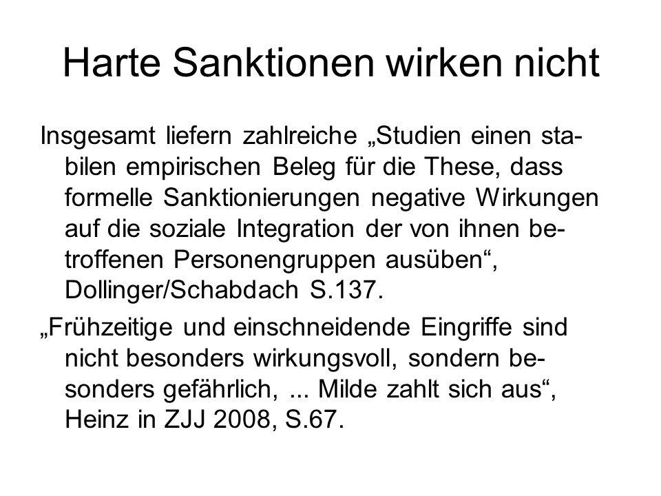 """Harte Sanktionen wirken nicht Insgesamt liefern zahlreiche """"Studien einen sta- bilen empirischen Beleg für die These, dass formelle Sanktionierungen n"""