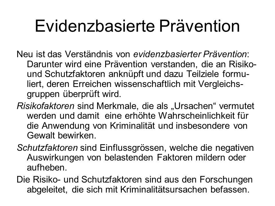 Evidenzbasierte Prävention Neu ist das Verständnis von evidenzbasierter Prävention: Darunter wird eine Prävention verstanden, die an Risiko- und Schut
