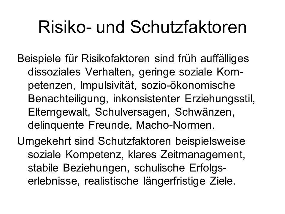 Risiko- und Schutzfaktoren Beispiele für Risikofaktoren sind früh auffälliges dissoziales Verhalten, geringe soziale Kom- petenzen, Impulsivität, sozi