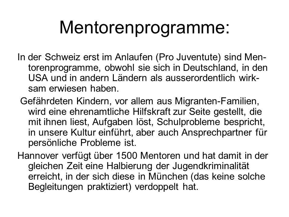 Mentorenprogramme: In der Schweiz erst im Anlaufen (Pro Juventute) sind Men- torenprogramme, obwohl sie sich in Deutschland, in den USA und in andern