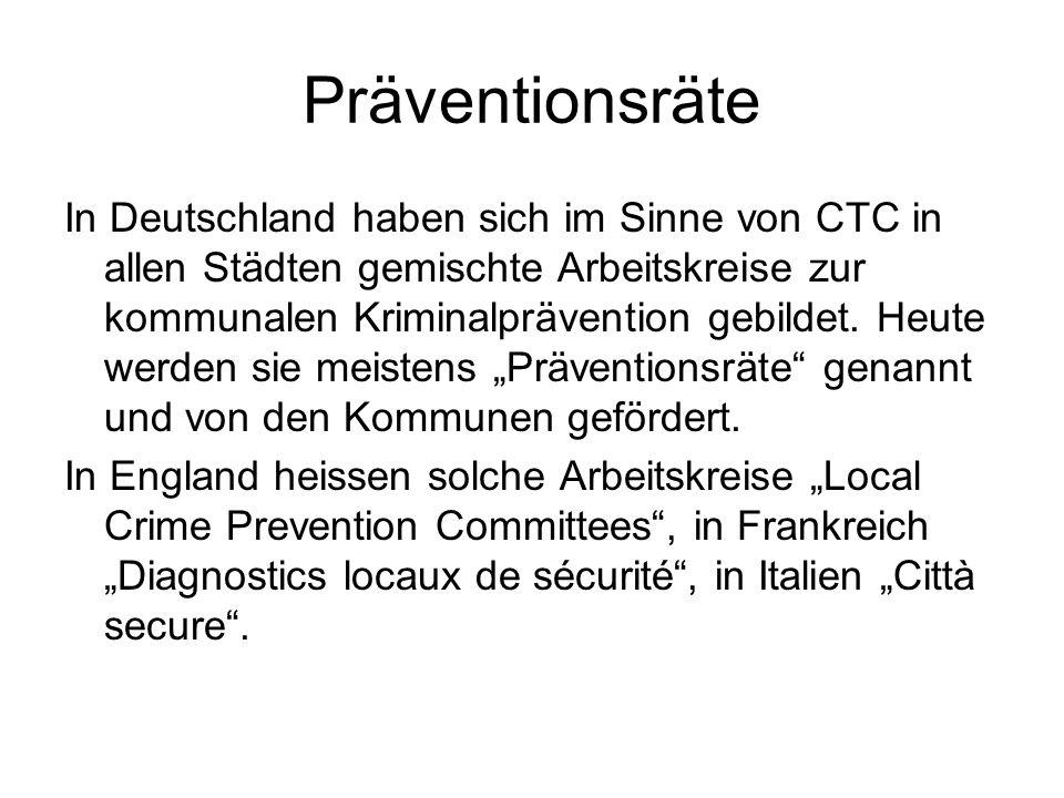Präventionsräte In Deutschland haben sich im Sinne von CTC in allen Städten gemischte Arbeitskreise zur kommunalen Kriminalprävention gebildet. Heute