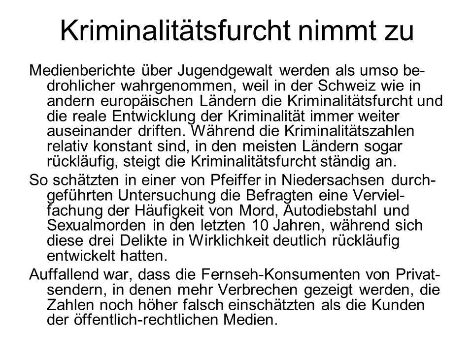 Kriminalitätsfurcht nimmt zu Medienberichte über Jugendgewalt werden als umso be- drohlicher wahrgenommen, weil in der Schweiz wie in andern europäisc