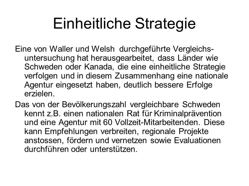 Einheitliche Strategie Eine von Waller und Welsh durchgeführte Vergleichs- untersuchung hat herausgearbeitet, dass Länder wie Schweden oder Kanada, di