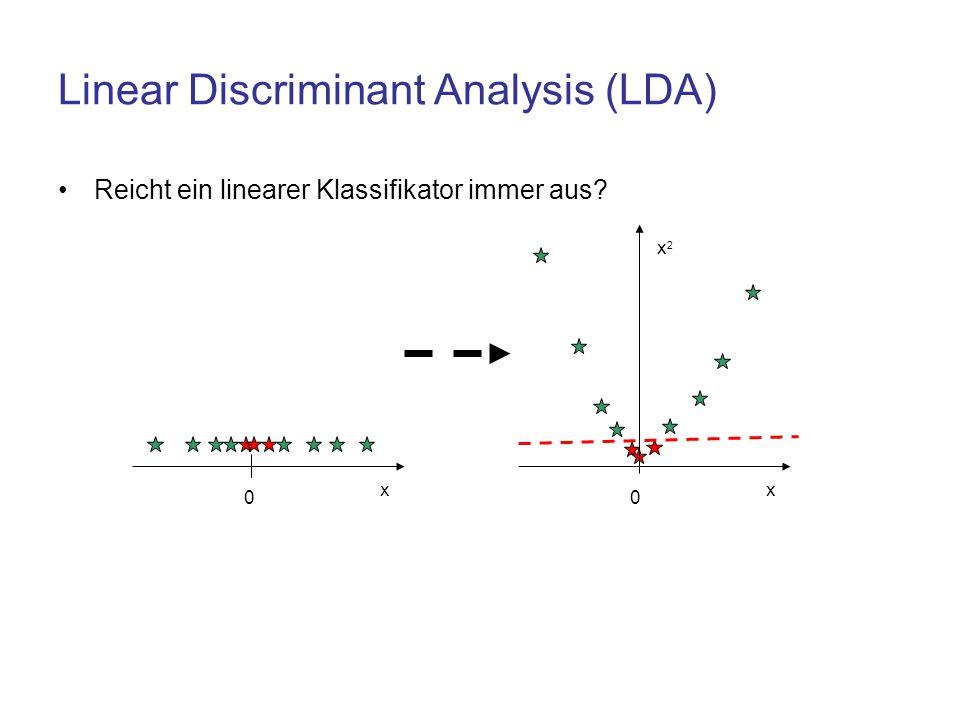 Linear Discriminant Analysis (LDA) Reicht ein linearer Klassifikator immer aus? 0 x 0 x x2x2