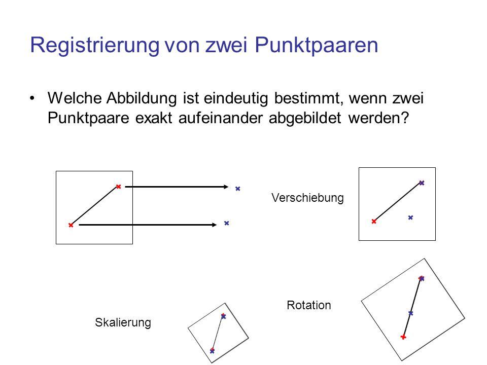 Registrierung von zwei Punktpaaren Welche Abbildung ist eindeutig bestimmt, wenn zwei Punktpaare exakt aufeinander abgebildet werden? Verschiebung Rot
