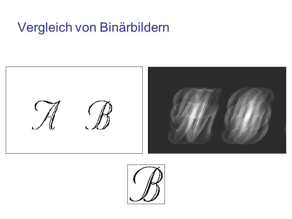 Distanztransformation Für einen Vergleich von Binärbildern kann die Distanztransformation genutzt werden Für alle Hintergrundpixel wird die minimale Distanz zu einem Vordergrundpixel berechnet Mögliche Distanzfunktionen: –Euklidische Distanz –Manhattan-Distanz (auch city block distance)
