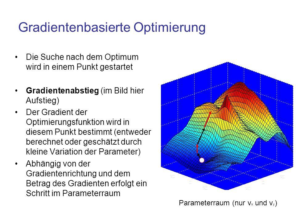 Gradientenbasierte Optimierung Die Suche nach dem Optimum wird in einem Punkt gestartet Gradientenabstieg (im Bild hier Aufstieg) Der Gradient der Opt