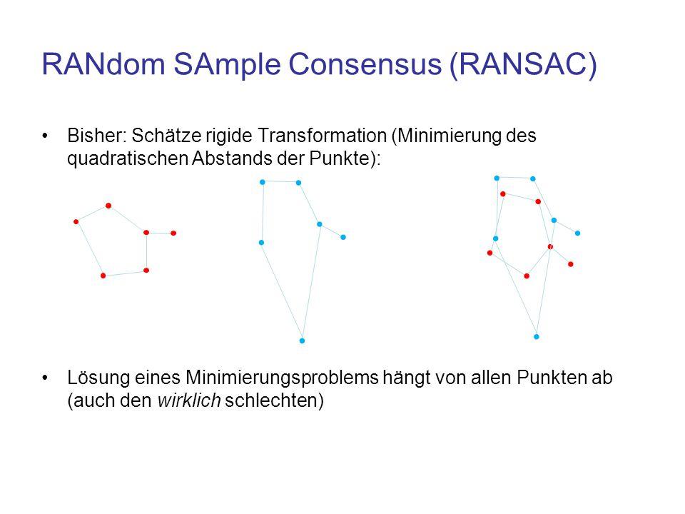 RANdom SAmple Consensus (RANSAC) Bisher: Schätze rigide Transformation (Minimierung des quadratischen Abstands der Punkte): Lösung eines Minimierungsp