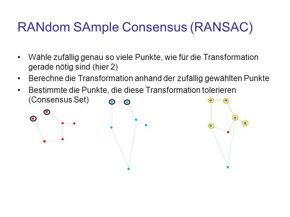 RANdom SAmple Consensus (RANSAC) Wähle zufällig genau so viele Punkte, wie für die Transformation gerade nötig sind (hier 2) Berechne die Transformati