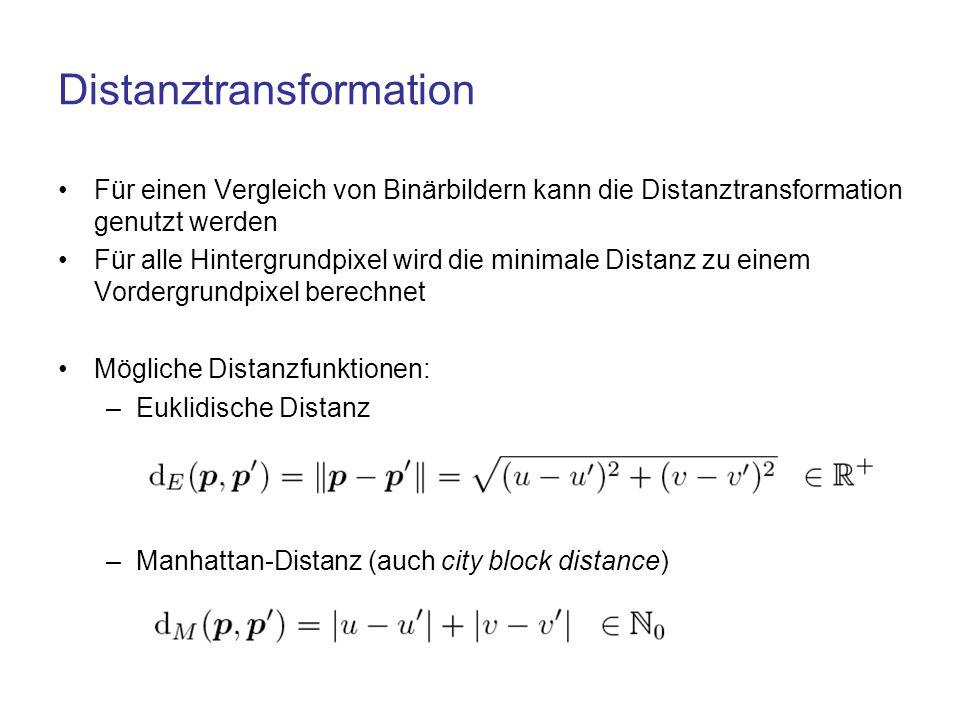 Distanztransformation Nutzung morphologischer Operatoren Chamfer-Algorithmus –Effizientes Verfahren –Bestimmung der Distanz mittels zweier Masken und zweier Bilddurchläufe –Masken zur Bestimmung der Manhattan-Distanz: