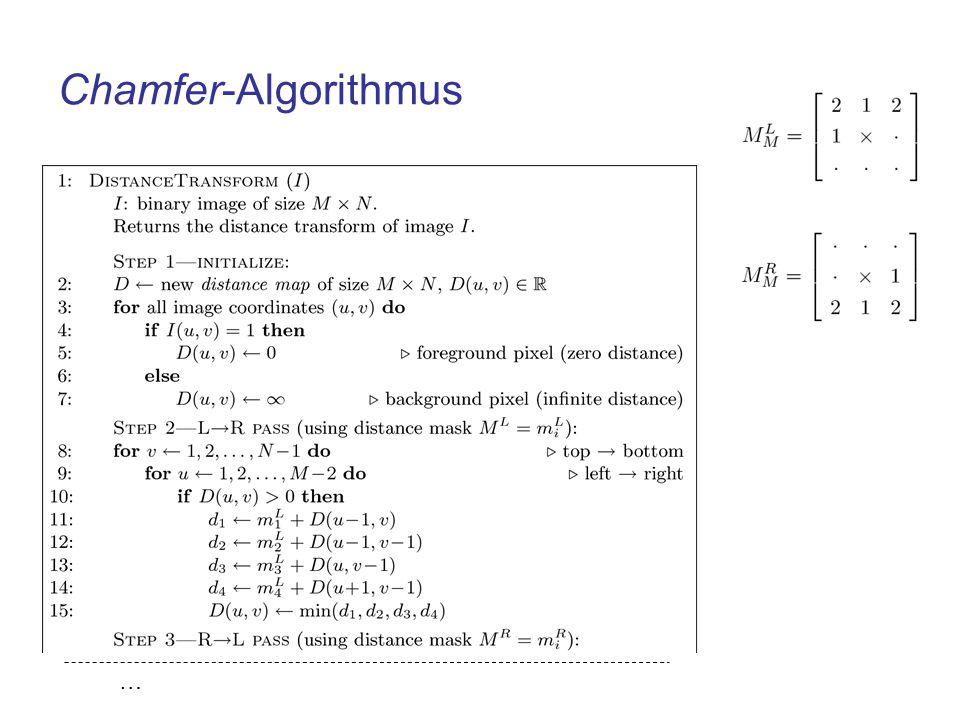 Chamfer-Matching Binäres Template: R Vordergrundpixel des Templates: FG(R) Anzahl der Vordergrundpixel des Templates: K Binärbild: I Distanztransformation des Bildes: D Template wird über das Bild bewegt, die Werte der Distanzverteilung werden addiert Der beste Match liegt im Minimum von Q