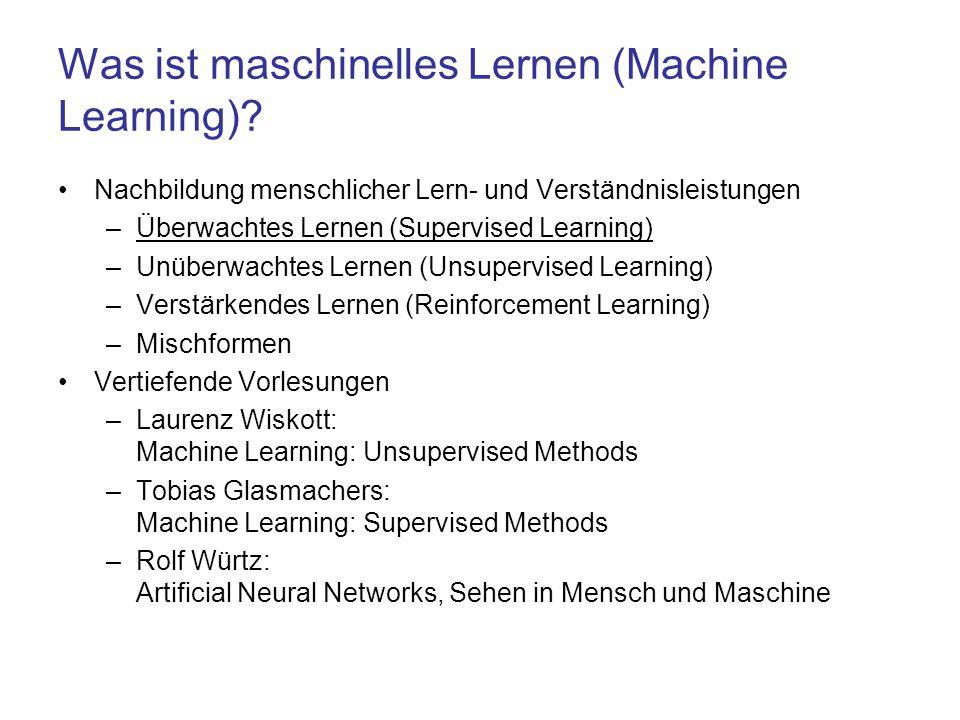 Was ist maschinelles Lernen (Machine Learning)? Nachbildung menschlicher Lern- und Verständnisleistungen –Überwachtes Lernen (Supervised Learning) –Un
