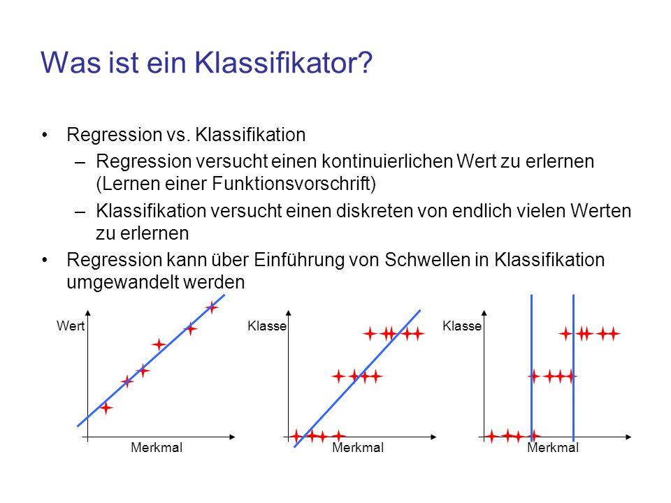 Was ist ein Klassifikator? Regression vs. Klassifikation –Regression versucht einen kontinuierlichen Wert zu erlernen (Lernen einer Funktionsvorschrif