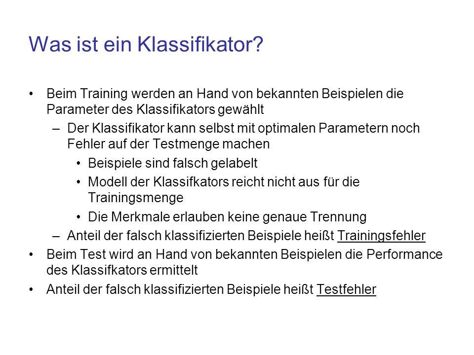 Was ist ein Klassifikator? Beim Training werden an Hand von bekannten Beispielen die Parameter des Klassifikators gewählt –Der Klassifikator kann selb