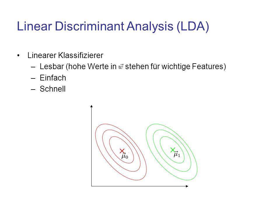 Linear Discriminant Analysis (LDA) Linearer Klassifizierer –Lesbar (hohe Werte in stehen für wichtige Features) –Einfach –Schnell