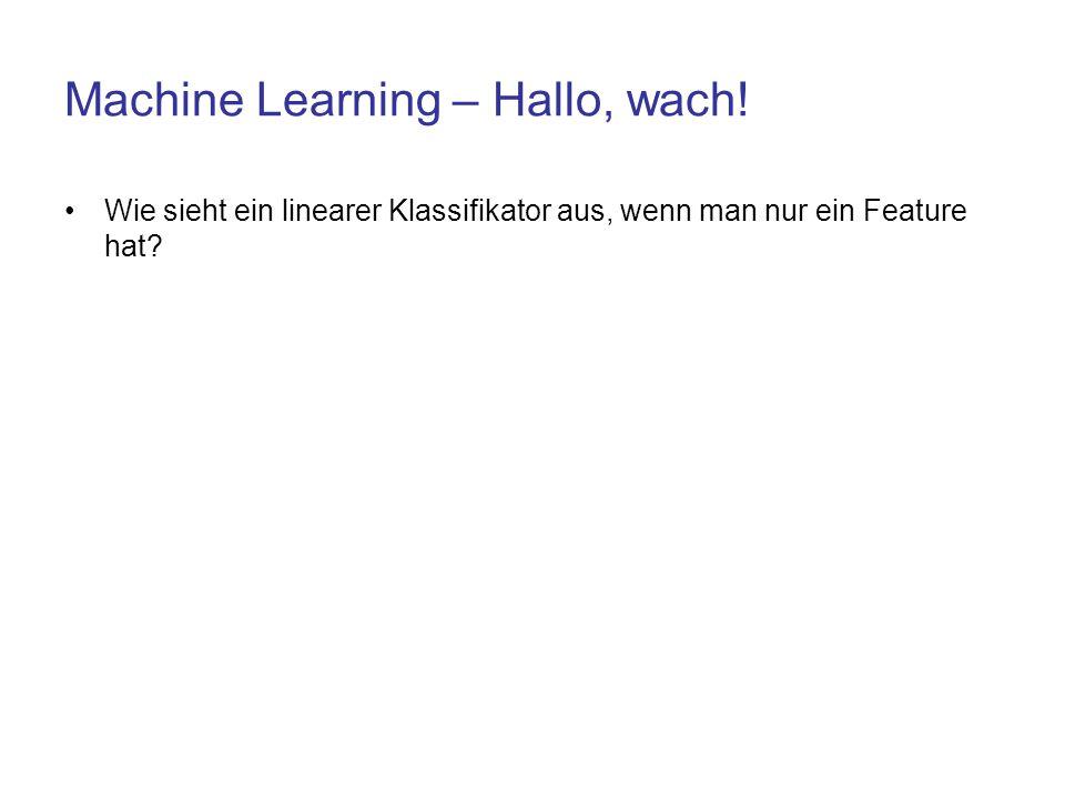 Machine Learning – Hallo, wach! Wie sieht ein linearer Klassifikator aus, wenn man nur ein Feature hat?