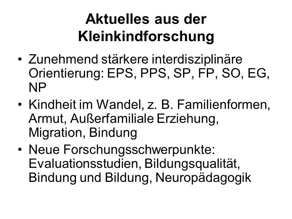 Aktuelles aus der Kleinkindforschung Zunehmend stärkere interdisziplinäre Orientierung: EPS, PPS, SP, FP, SO, EG, NP Kindheit im Wandel, z.