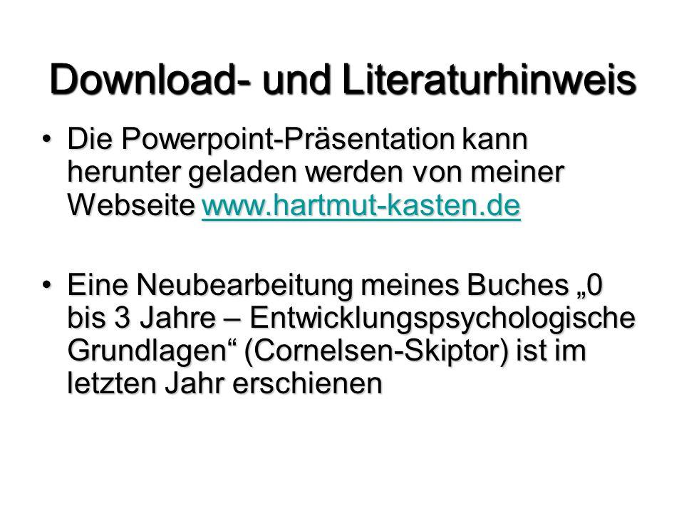 """Download- und Literaturhinweis Die Powerpoint-Präsentation kann herunter geladen werden von meiner Webseite www.hartmut-kasten.deDie Powerpoint-Präsentation kann herunter geladen werden von meiner Webseite www.hartmut-kasten.dewww.hartmut-kasten.de Eine Neubearbeitung meines Buches """"0 bis 3 Jahre – Entwicklungspsychologische Grundlagen (Cornelsen-Skiptor) ist im letzten Jahr erschienenEine Neubearbeitung meines Buches """"0 bis 3 Jahre – Entwicklungspsychologische Grundlagen (Cornelsen-Skiptor) ist im letzten Jahr erschienen"""