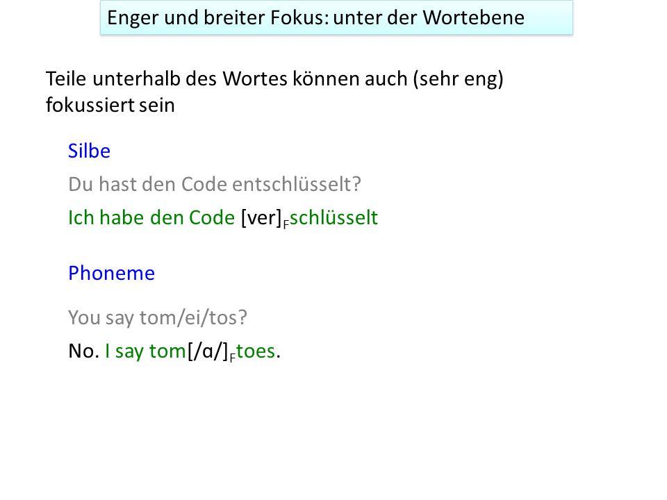 Ich habe den Code [ver] F schlüsselt Du hast den Code entschlüsselt.