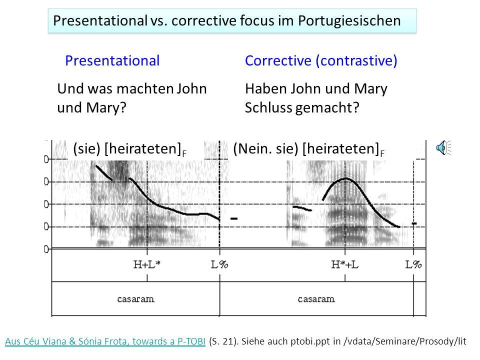 Enger Fokus und die Bedeutung Presentational (informational) focus Corrective (contrastive) focus A.