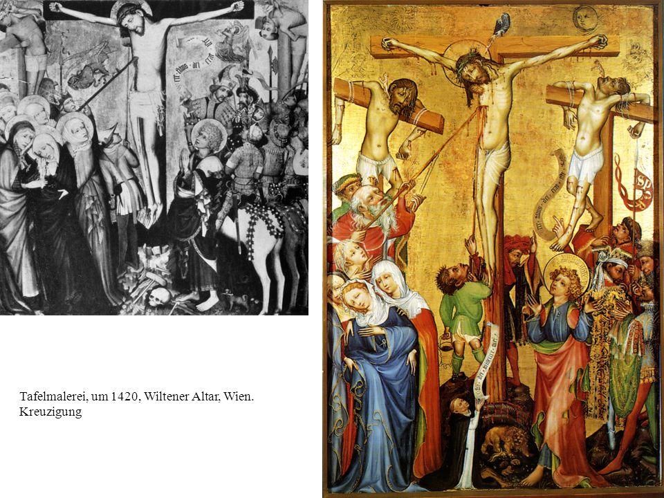 Tafelmalerei, um 1420, Wiltener Altar, Wien. Kreuzigung
