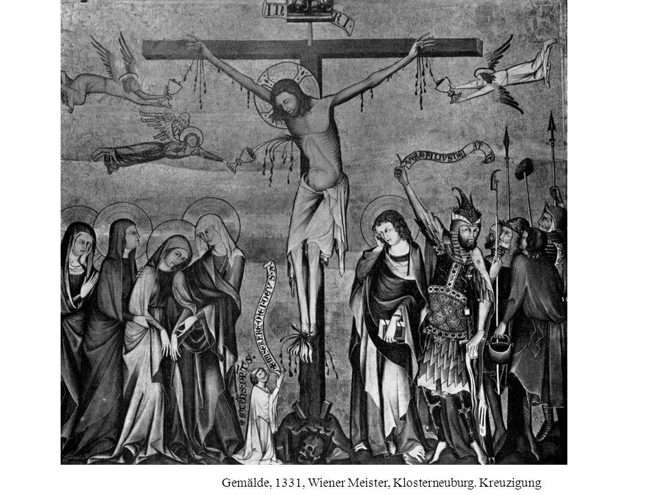 Tafelmalerei, um 1360, böhmisch, Berlin. Kreuzigung