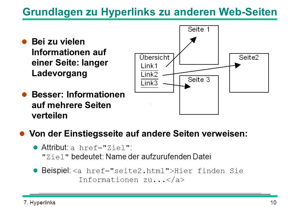 7. Hyperlinks10 Grundlagen zu Hyperlinks zu anderen Web-Seiten l Bei zu vielen Informationen auf einer Seite: langer Ladevorgang l Besser: Information