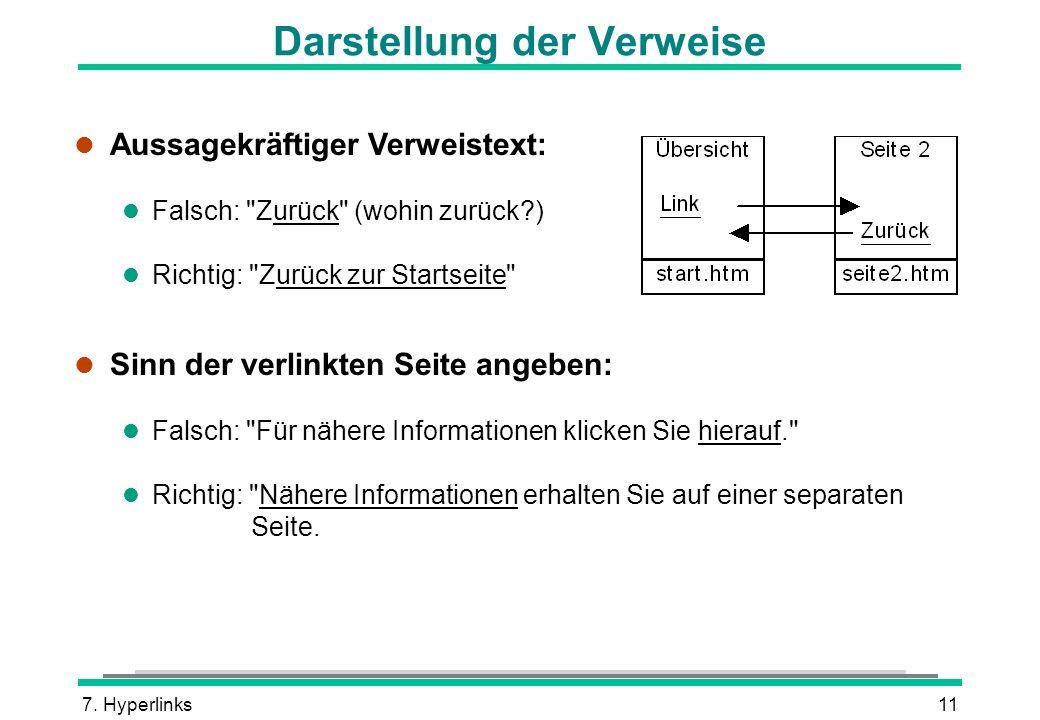 7. Hyperlinks11 Darstellung der Verweise l Aussagekräftiger Verweistext: l Falsch: