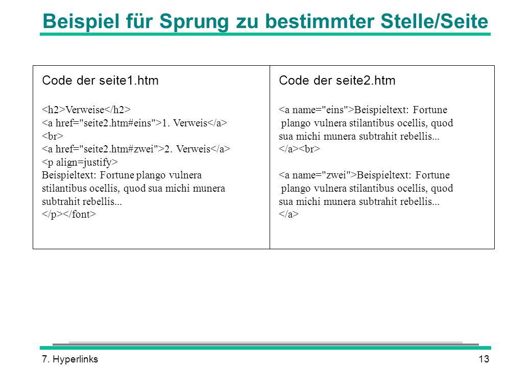 7. Hyperlinks13 Beispiel für Sprung zu bestimmter Stelle/Seite Code der seite1.htm Verweise 1. Verweis 2. Verweis Beispieltext: Fortune plango vulnera