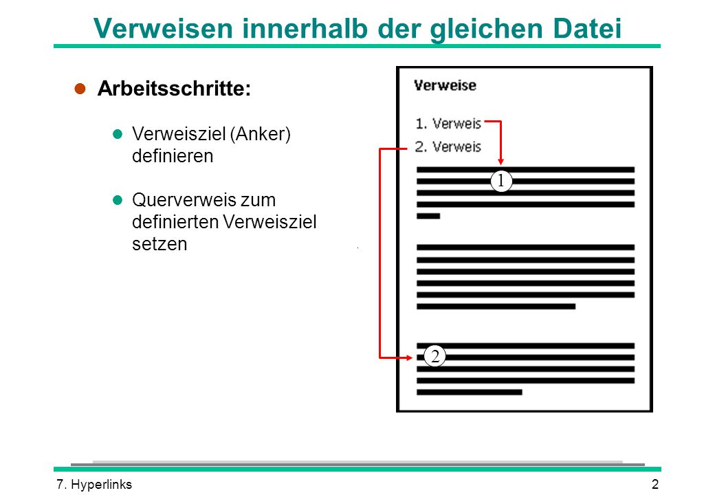 7. Hyperlinks2 Verweisen innerhalb der gleichen Datei l Arbeitsschritte: l Verweisziel (Anker) definieren l Querverweis zum definierten Verweisziel se