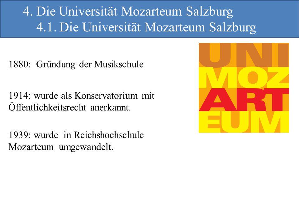 1880: Gründung der Musikschule 1914: wurde als Konservatorium mit Öffentlichkeitsrecht anerkannt. 1939: wurde in Reichshochschule Mozarteum umgewandel