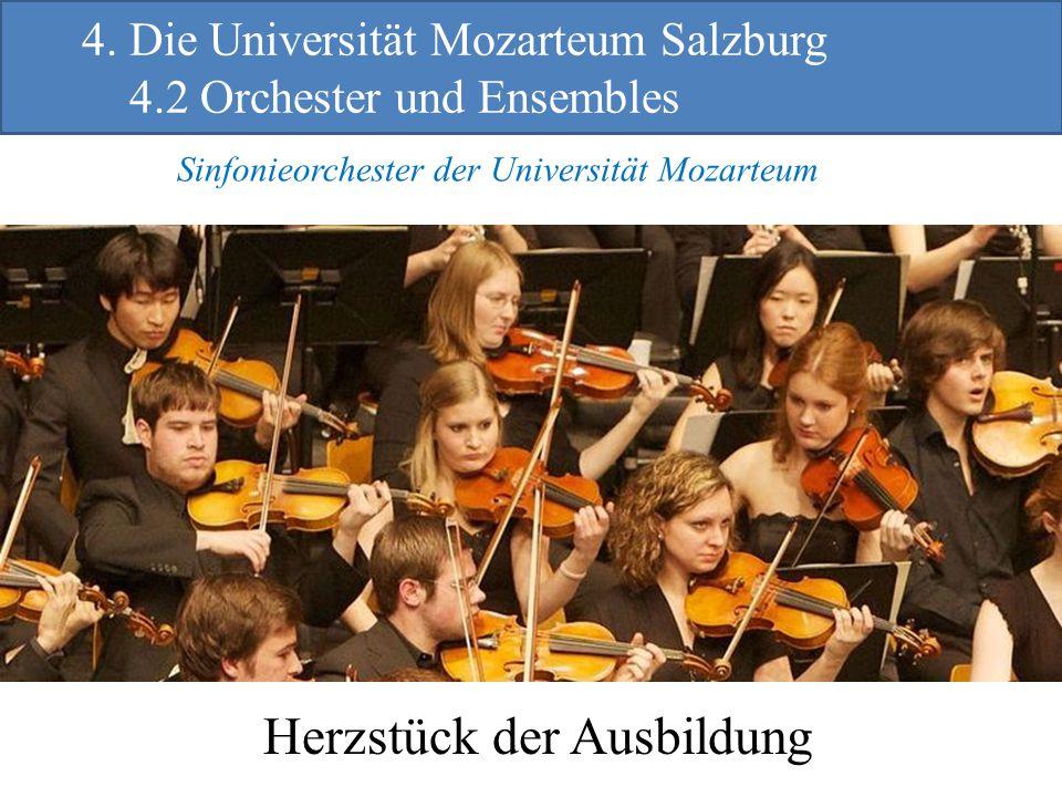 Herzstück der Ausbildung Sinfonieorchester der Universität Mozarteum 4. Die Universität Mozarteum Salzburg 4.2 Orchester und Ensembles