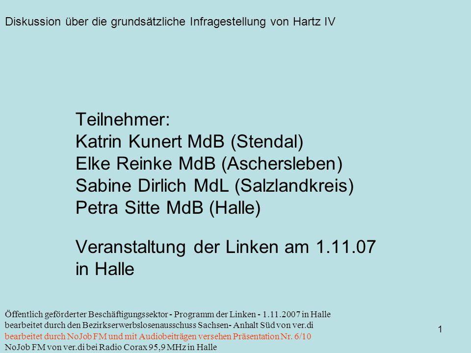 Diskussion über die grundsätzliche Infragestellung von Hartz IV 1 Öffentlich geförderter Beschäftigungssektor - Programm der Linken - 1.11.2007 in Halle bearbeitet durch den Bezirkserwerbslosenausschuss Sachsen- Anhalt Süd von ver.di bearbeitet durch NoJob FM und mit Audiobeiträgen versehen Präsentation Nr.