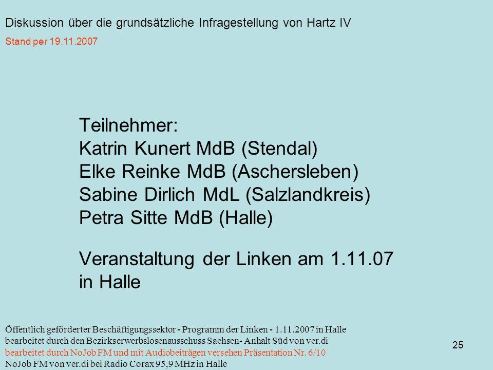 Diskussion über die grundsätzliche Infragestellung von Hartz IV 25 Öffentlich geförderter Beschäftigungssektor - Programm der Linken - 1.11.2007 in Halle bearbeitet durch den Bezirkserwerbslosenausschuss Sachsen- Anhalt Süd von ver.di bearbeitet durch NoJob FM und mit Audiobeiträgen versehen Präsentation Nr.