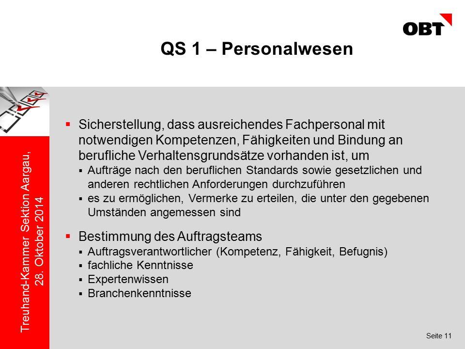 Seite 11 Treuhand-Kammer Sektion Aargau, 28. Oktober 2014 QS 1 – Personalwesen  Sicherstellung, dass ausreichendes Fachpersonal mit notwendigen Kompe