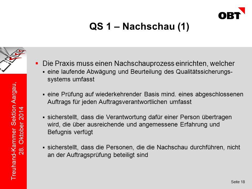 Seite 18 Treuhand-Kammer Sektion Aargau, 28. Oktober 2014 QS 1 – Nachschau (1)  Die Praxis muss einen Nachschauprozess einrichten, welcher  eine lau