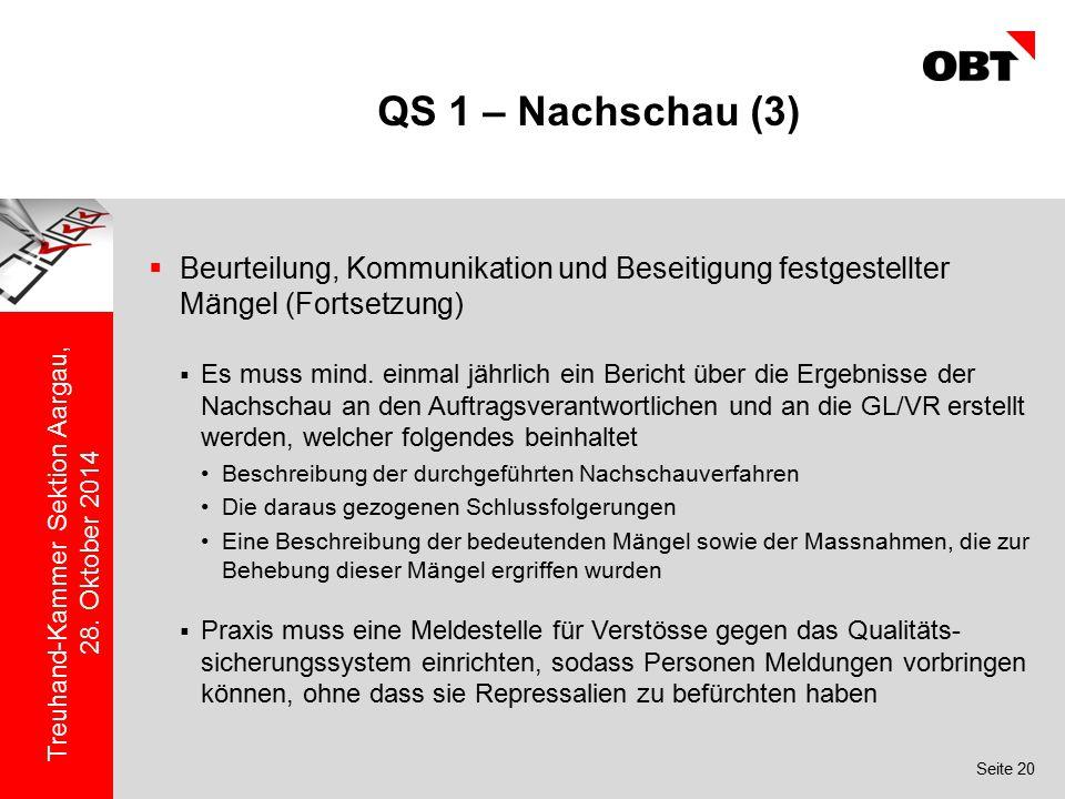 Seite 20 Treuhand-Kammer Sektion Aargau, 28. Oktober 2014 QS 1 – Nachschau (3)  Beurteilung, Kommunikation und Beseitigung festgestellter Mängel (For