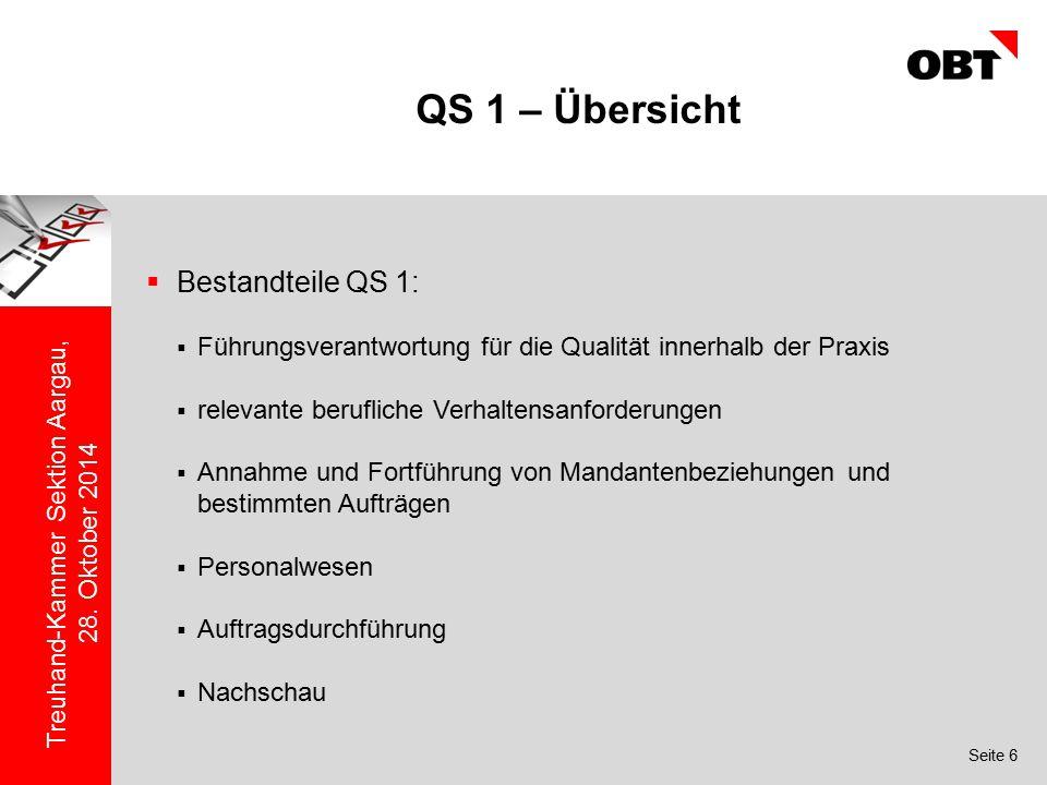 Seite 6 Treuhand-Kammer Sektion Aargau, 28. Oktober 2014 QS 1 – Übersicht  Bestandteile QS 1:  Führungsverantwortung für die Qualität innerhalb der