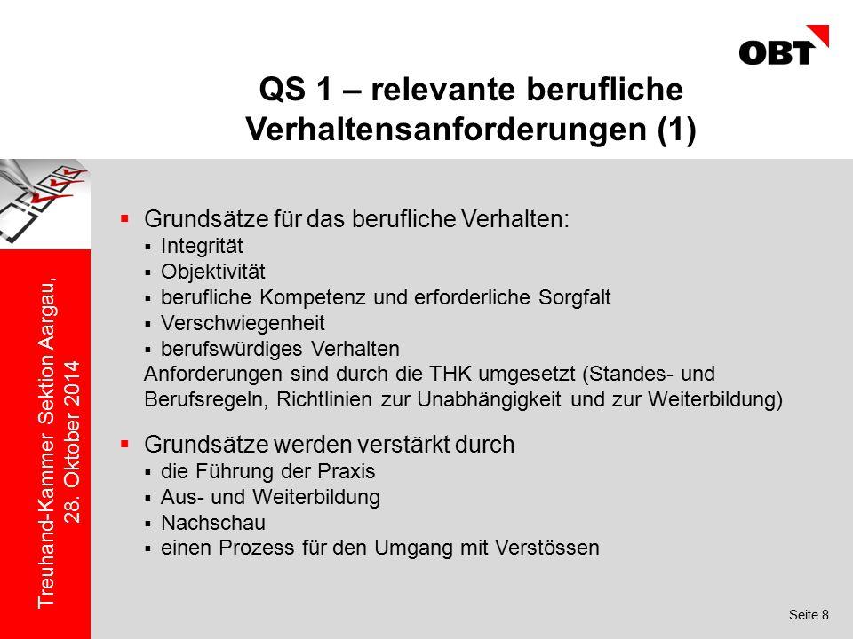 Seite 8 Treuhand-Kammer Sektion Aargau, 28. Oktober 2014 QS 1 – relevante berufliche Verhaltensanforderungen (1)  Grundsätze für das berufliche Verha
